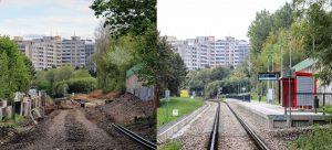 Nová zastávka Příbram-sídliště během výstavby a po dokončení. Pramen: Správa železnic