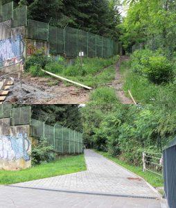 Nová zastávka Příbram-sídliště, přístupová cesta (před a po). Pramen: Správa železnic