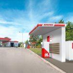 Vizualizace plnícího stojanu na vodík na čerpací stanici Benzina v Praze na Barrandově. Foto: Unipetrol