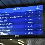Zobrazovací tabule s informace o odjezdech MHD v Brně. Foto: DPMB
