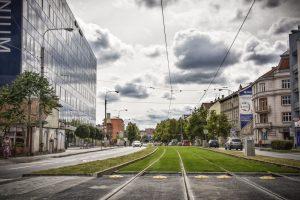 Tramvajová trať v Nových Sadech po rekonstrukci s novými zelenými pásy. Foto: DPMB