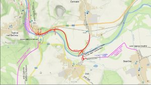 Cyklostezka Bečva na katastrech obcí Ústí a Černotín. Pramen: Atelis.eu