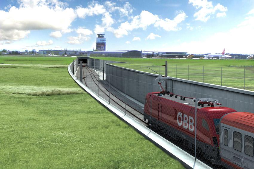 Úsek Koralmbahn kolem letiště u Štýrského Hradce povede v tunelu. © ÖBB/3D-Schmiede