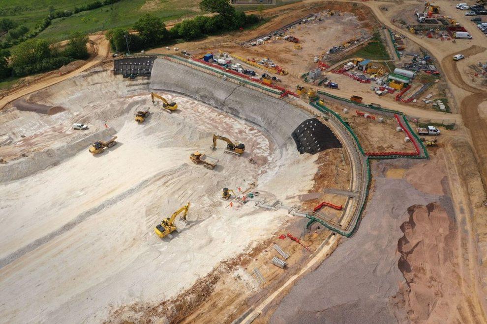 Stavba prvního úseku vysokorychlostní železnice HS2. Foto: HS2 Ltd.