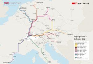Plán sítě linek nočních vlaků SBB a Praha má získat další noční vlak ze Švýcarska, plánují ho společně SBB a ÖBB. Foto: SBB