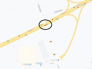 Mapa místa, kde proběhne oprava mostu přes D10. Foto: TSK