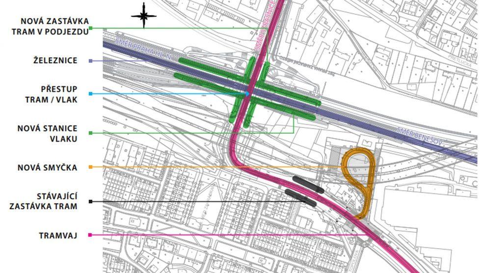Plán tramvajové smyčky u Zahradního Města. Foto: DPP