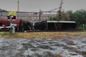 Vykolejení nákladního vlaku v Úpořinách. Foto: Pavlína Veselá