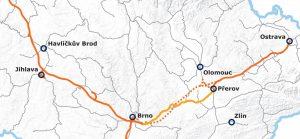 Mapa připravovaných vysokorychlostních tratí na Moravě. Foto: Správa železnic