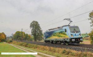 Lokomotiva Bombardier TRAXX MS3 (388.010) ve speciálním nátěru pro ČD Cargo při technicko-bezpečnostní zkoušce u Kasselu. Foto: Martin Voigt