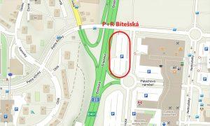 Umístění budoucího parkovacího domu P+R Brno Bítešská ul. Pramen: Město Brno