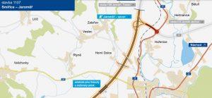 Mapa D11 u Jaroměře včetně chystaného napojení na silnici I/37. Foto: ŘSD