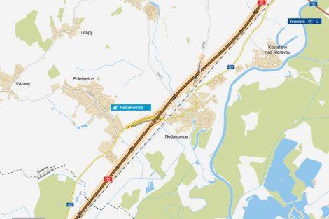 Úsek D55 Staré Město - Moravský Písek. Pramen: ŘSD