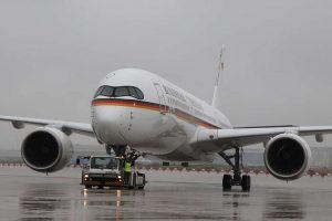 Německý vládní speciál A350 v Kolíně nad Rýnem. Foto: Miriam Altfelder / Bundeswehr