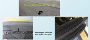 Snímky poškozené pneumatiky ze zprávy ÚZPLN. Foto: ÚZPLN