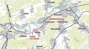 Mapa s novým tunelem Eppenberg. Foto: SBB