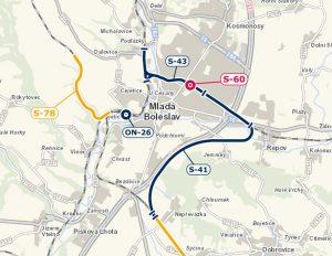 Budoucí železniční investice v Mladé Boleslavi. S41 = Bezděčínská spojka, S60 = stanice Mladá Boleslav město, S43 = Ptácká spojka, ON-26=hlavní nádraží