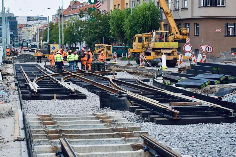 Výstavba tramvajové trati na Pankrác. Foto: Ropid