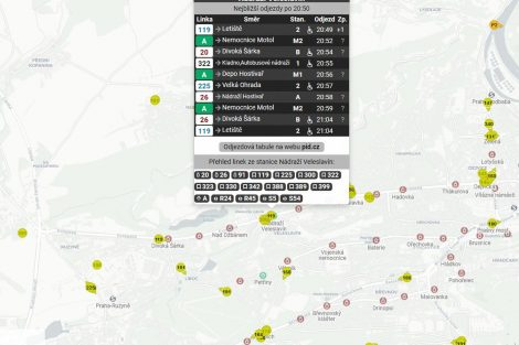 Ukázka nové aplikace s online-polohami autobusů v Praze. Foto: Ropid