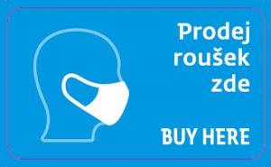 Samolepka informující cestující o možnosti nákupu roušek. Foto: ČD