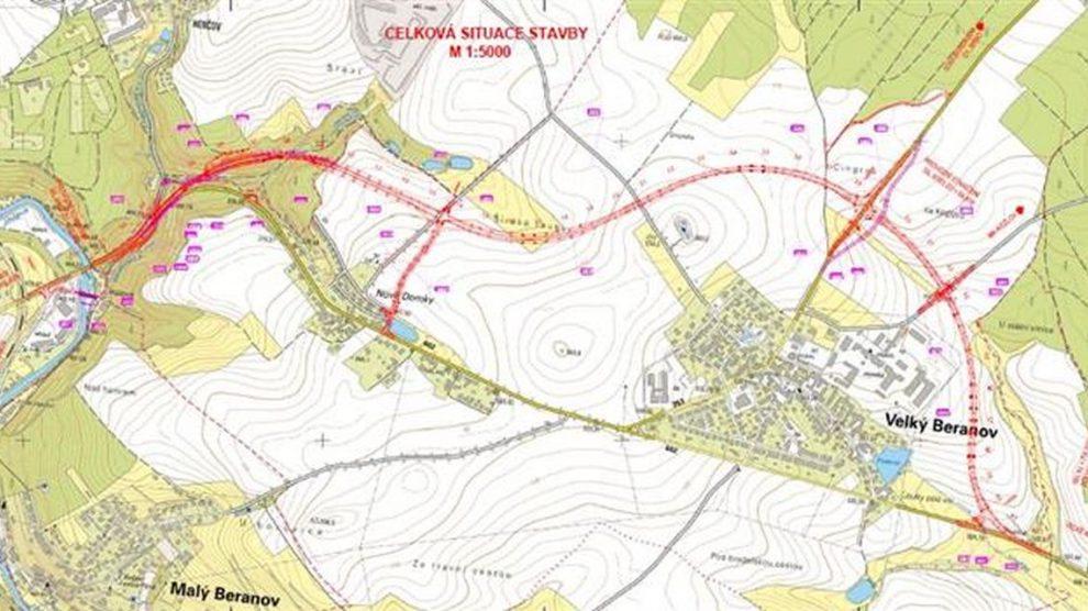 Trasa obchvatu Velkého Beranova. Foto: Kraj Vysočina