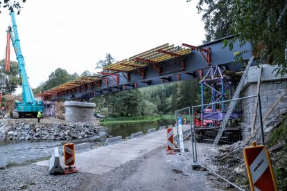 Rekonstrukce mostu ve Vlastějovicích. Foto: Správa železnic