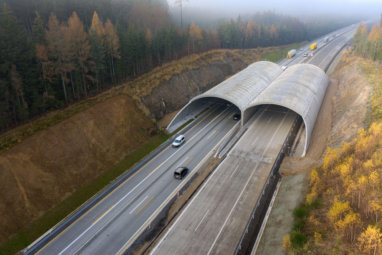 Modernizovaná část D1 mezi Humpolcem a Větrným Jeníkovem. Foto: Skanska