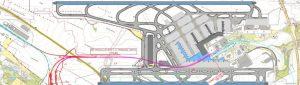 Mapa chystaného železničního napojení do Jenečku