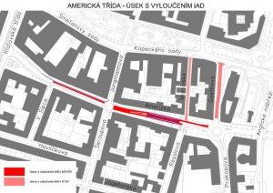 Plán úprav Americké třídy. Foto: Plzeň
