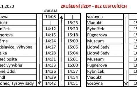 Jízdní řád pro jízdu tramvaje Gotha T2-62 17.11.2020