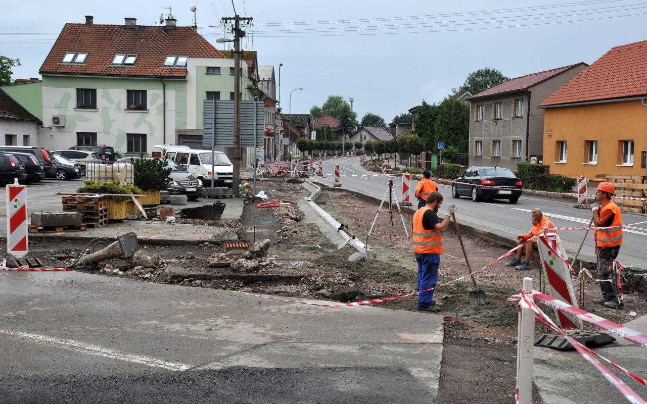 Stavební práce v Častolovicích. Foto: FB Městyse Častolovice