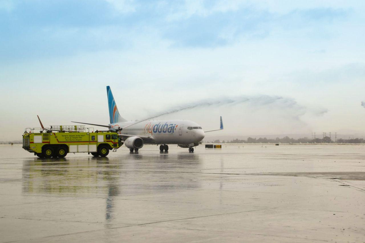 Přivítání první komerční linky ze Spojených arabských emirátů do Izraele. Foto: flydubai
