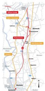 Mapa nové trasy vysokorychlostní železnice. Foto: DB Netz