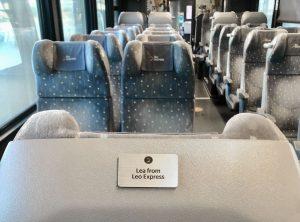 Ukázka adoptované sedačky ve vlaku Leo Express. Foto: Leo Express