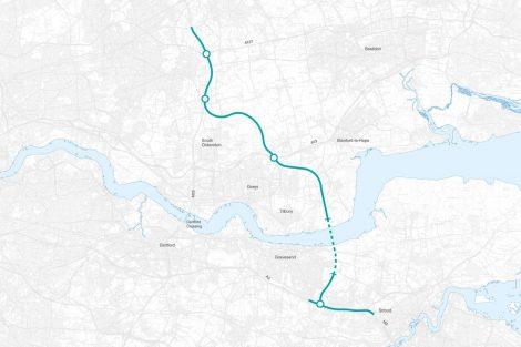 Trasa nového tunelu pod Temží. Foto: Highways England