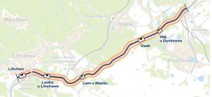 Mapa trati 134 mezi Oldřichovem u Duchcova a Litvínovem. Foto: SŽDC