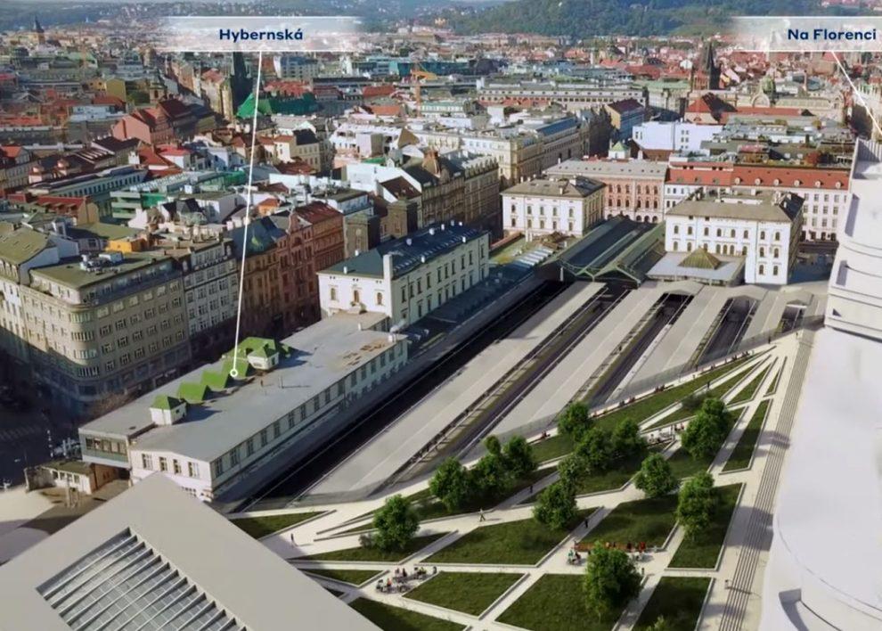 Vizualizace zastřešení nástupišť Masarykova nádraží. Foto: Správa železnic