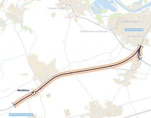 Optimalizace trati Čelákovice - Mstětice. Pramen: Správa železnic