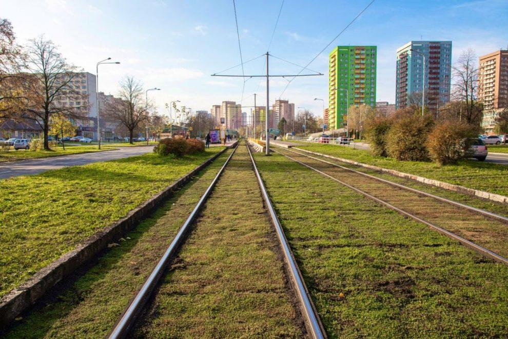 Nový zatravněný úsek tramvajové trati na ulici Dr. Martínka. Foto: Twitter Zuzany Bajgarové