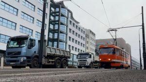 Měřící tramvaj na Pankráci. Foto: DPP