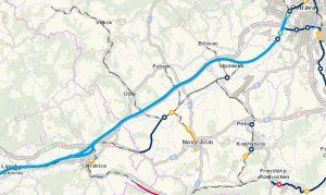 Navrhovaná trasa vysokorychlostní trati mezi Hranicemi na Moravě a Ostravou (světle modře). Mapa: Správa železnic