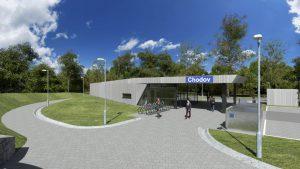 Nová nádražní budova Chodov, vizualizace. Pramen: Správa železnic