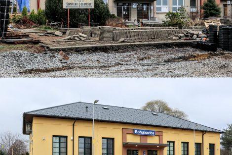 Výpravní budova stanice Bohuňovice, březen a prosinec 2020. Pramen: Správa železnic
