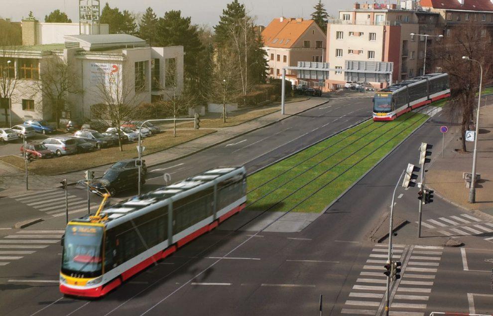 Vizualizace tramvají na Kobyliském náměstí. Foto: Cedop