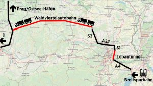 Nástřel trasy Waldviertel Autobahn. Pramen: noen.at/zVg/Grüne