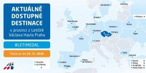 Mapa spojení z Prahy k 25. listopadu 2020