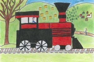 Obrázky dětí ze školy a školky v Pačejově. Pramen: Správa železnic
