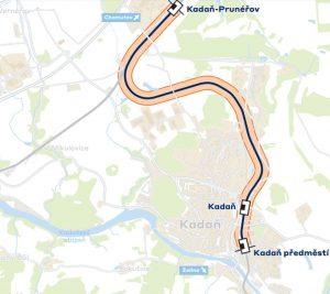 Mapa trati Kadaň - Prunéřov - Kadaň předměstí. Foto: Správa řželeznic