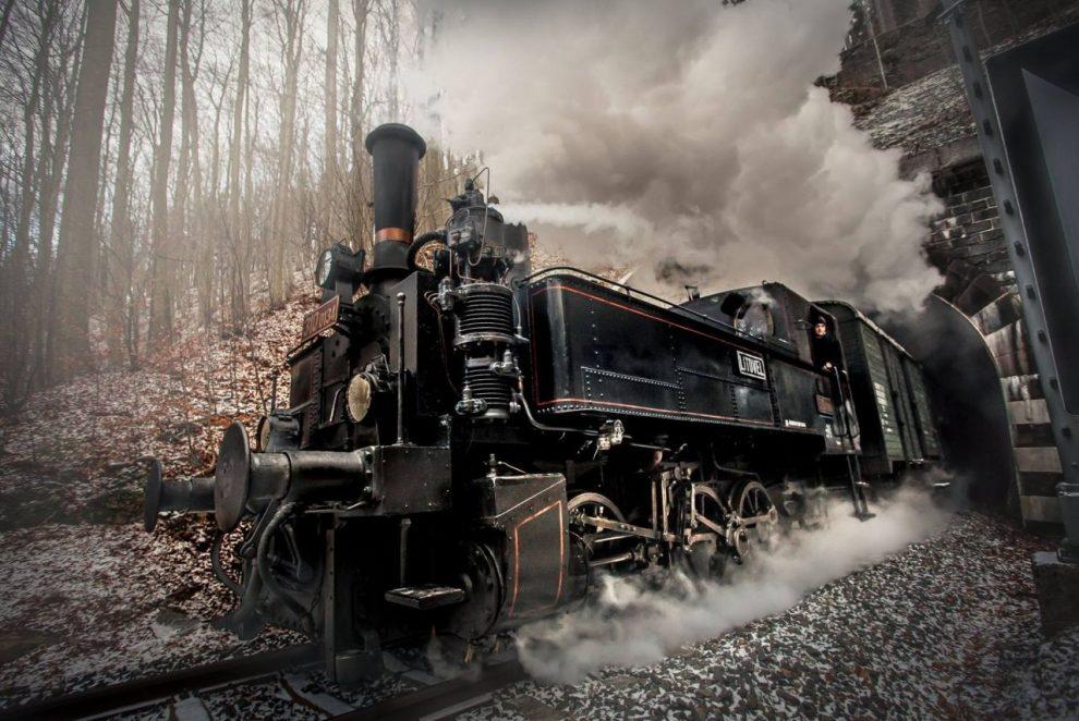 Lokomotiva 310.0134 vyjíždí z tunelu mezi Kryštofovým Údolím a Karlovem pod Ještědem. Autor: Matyáš Gál