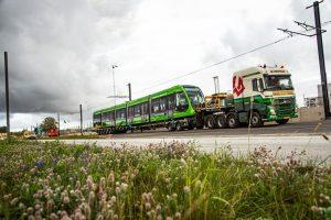 Příjezd nových tramvají CAF Urbos 100 do Lundu. Foto: FB Lund Kommun